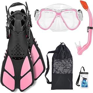 xdobo Kids Snorkeling Set Anti-Leak Diving Mask Dry Top Snorkel Adjustable Kids Flipper/Fins Kids Snorkel Set with Gear Ba...
