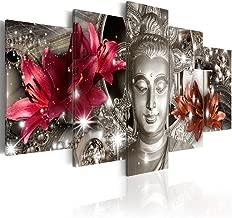 "Large Buddha Canvas Wall Decor Silver Contemplation Print Art Painting Modern Artwork (60""W x 30"
