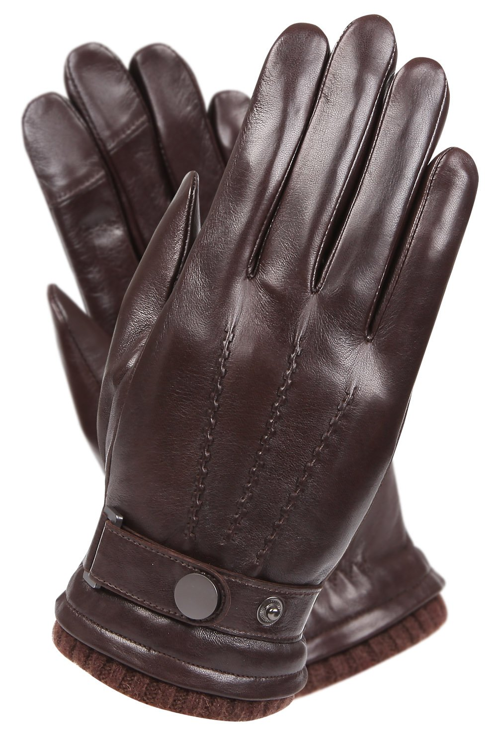 Mens Luxury Touchscreen Italian Nappa Genuine Leather Winter Warm Gloves for Texting Driving Cashmere Lining Blend Cuff