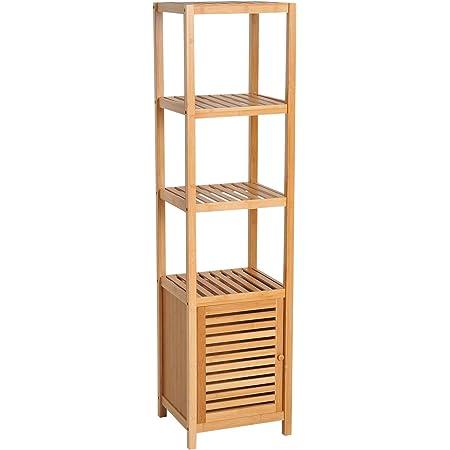 HOMCOM Meuble Colonne Rangement Salle de Bain Bambou Design Naturel 36L x 33l x 140H cm 2 étagères 4 Niveaux + Placard