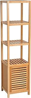 HOMCOM Estantería de Bambú para Baño Armario Alto Librer
