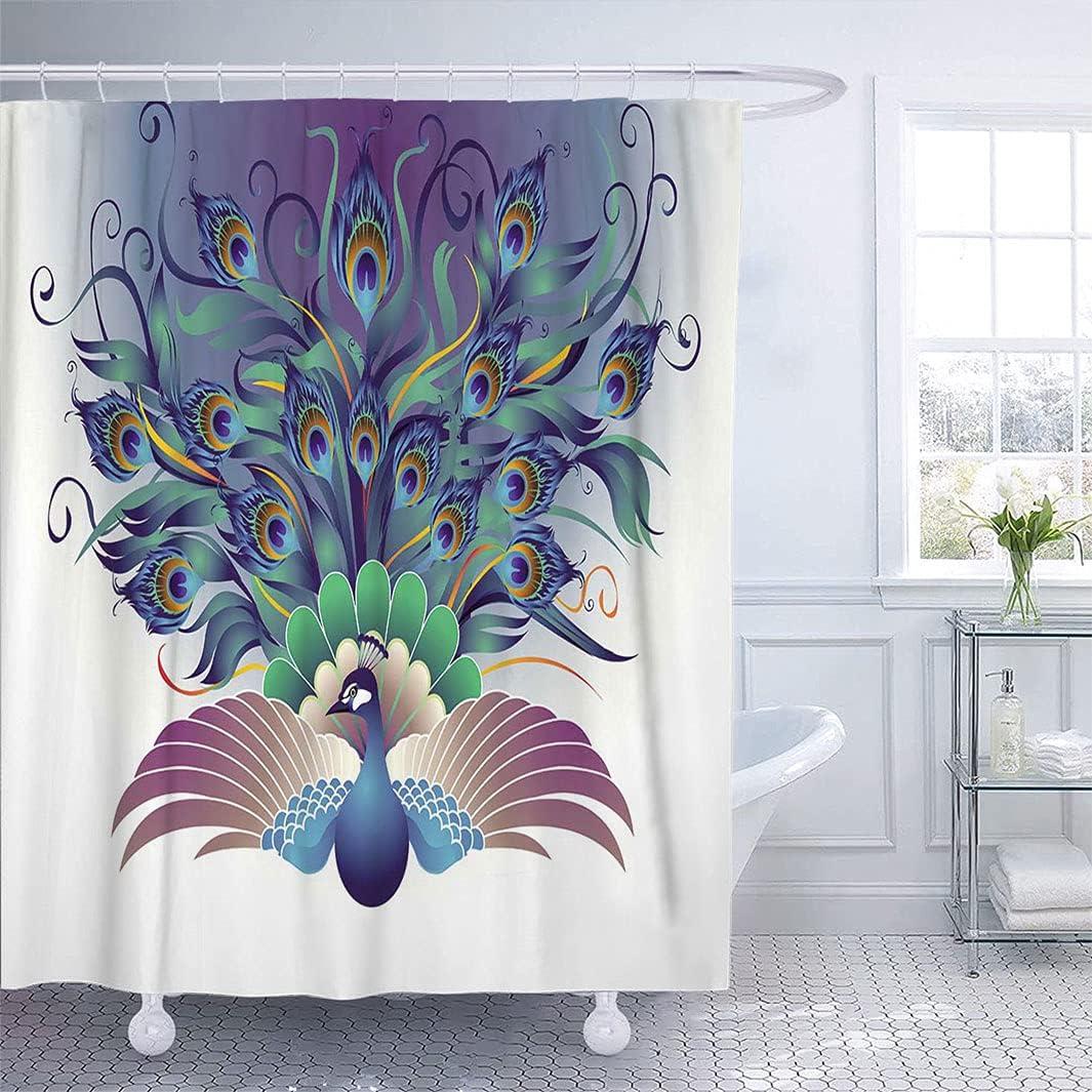 Peacock Decor Max 61% OFF Bathroom Shower Curtain Illustration Ornate security Pea of