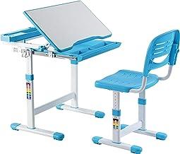 Mount-It! Height Adjustable Kids Desk   Children's School Desk Set with Chair   Boys Study Table Blue