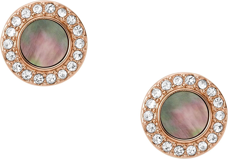 Fossil Women's Stainless Steel Rose Gold-Tone Stud Earrings