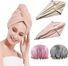 Cappello per Capelli asciutti Salon Asciugamano asciuga Capelli in Microfibra con Bottoni Allacciati G-TASTE Asciugamano Turbante per Capelli Rosa
