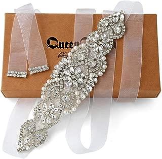 Rhinestone Sash Belt Clear Silver Crystal White Organza Ribbon for Wedding Party Prom Evening Dresses