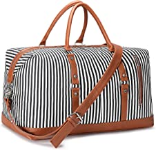 S-ZONE Women Travel Duffel Weekender Carryon Shoulder Tote Bag Canvas PU Leather