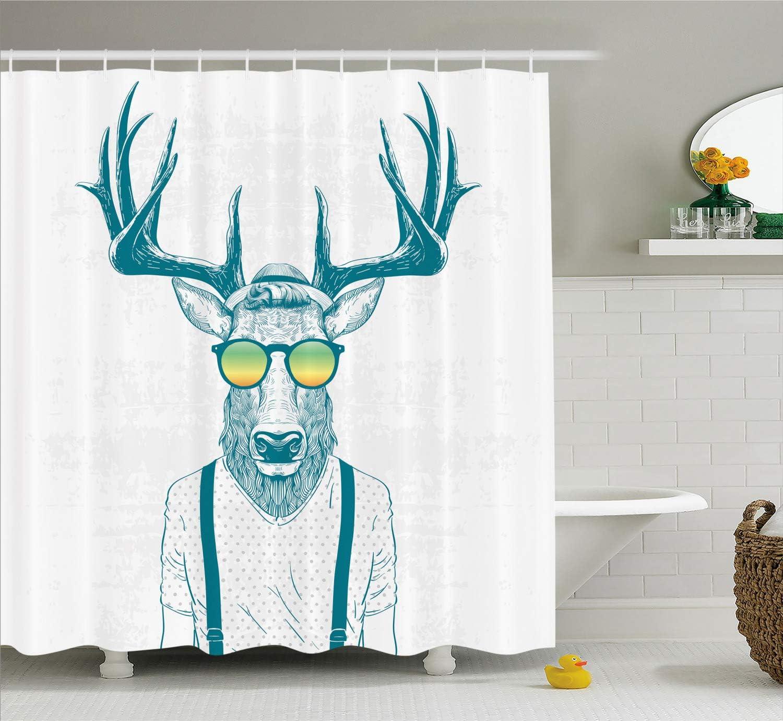 favorite Ambesonne Antlers Shower Curtain Illustration Deer OFFicial of Dressed u