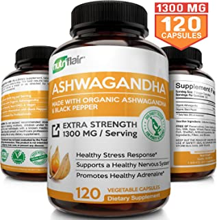 Organic Ashwagandha Capsules 1300MG with Black Pepper, 120 Veggie Capsules - Natural Root Powder Supplement for Stress & Anti Anxiety, Mood Enhancer, Immune, Energy, Thyroid Support, Adrenal Support