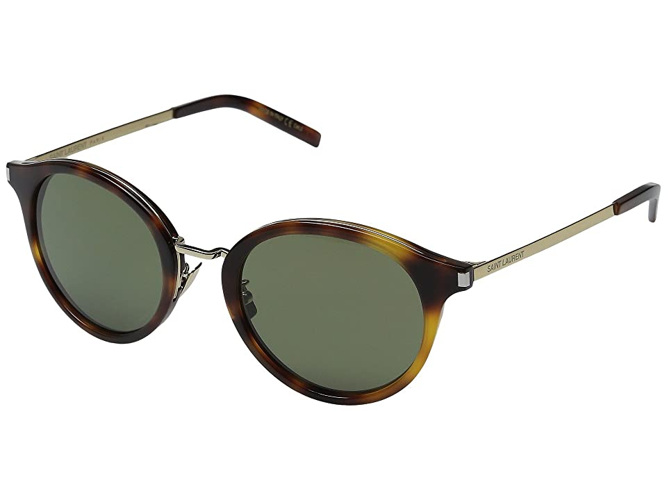 Saint Laurent SL 57 (Light Havana/Green Barberini Mineral Lens) Fashion Sunglasses