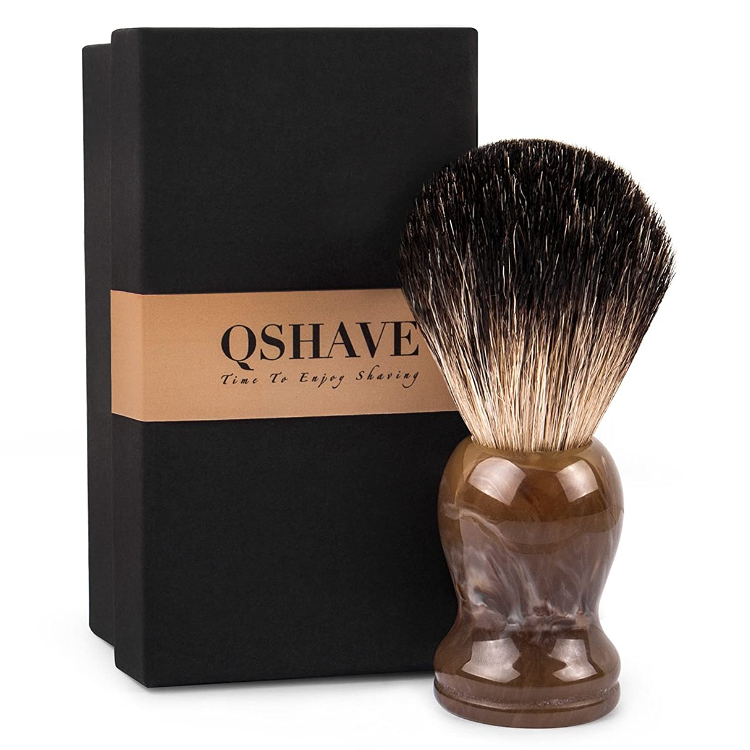 わずかに自殺中でQSHAVE 100%アナグマ毛 オリジナルハンドメイドシェービングブラシ。ウェットシェービング、安全カミソリ、両刃カミソリに最適