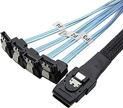 CableDeconn 18' Mini SAS 36P SFF-8087 To 4 SATA 7Pin 90 Degrees Target Hard Disk Data Cable 0.5M (H0304)