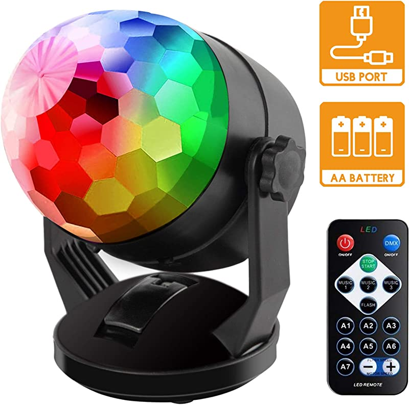 Sound Activated Party Lights With Remote Control Battery Powered USB Portable RBG Disco Ball Light Dj Lighting Strobe Lamp 7 Modes Stage Par Light For Home Room Dance Parties Birthday Karaoke