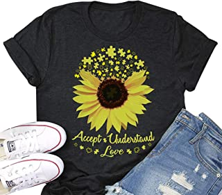 Accept Understand Love Sunflower T-Shirt Women Cute Funny Graphic Puzzle Tee Casual Short Sleeve Shirt Tops