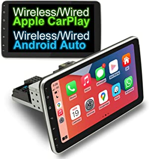 $279 » COGAMICHI Adjustable Single Din Car Stereo 10.1 Inch Wireless/Wired CarPlay & Android Auto Bluetooth AM/FM Screen Mirror C...