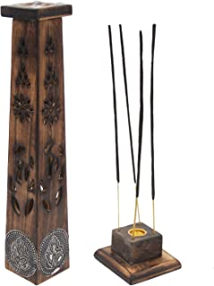 DharmaObjects Wooden Artisan Decor Table Top Incense Stick Holder Burner Tower Stand (Ganesh)