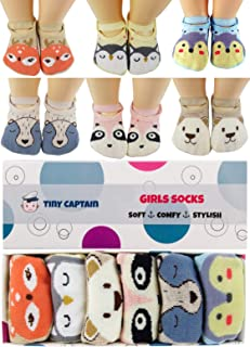 Baby Socks Toddler Girls Anti Slip Cartoon Animal 1 Year Old Gift Best Non Skid Cotton Sock from Tiny Captain (Pink, Blue,...