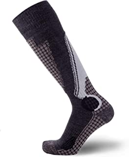 Pure Athlete High Performance Wool Ski Socks - Outdoor Wool Skiing Socks, Snowboard Socks (Black/Grey/Silver, Medium)