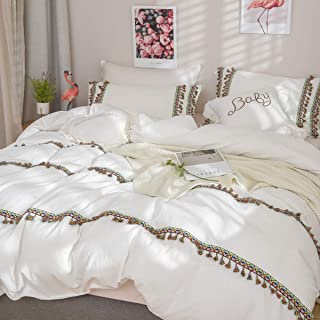 Softta Boho Bedding Girls Tassel Duvet Cover Twin 3 Pcs 100% Washed Cotton Vintage and Elegant Ruffle Duvet Covers White Zipper Closure