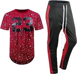 ALMAS APPAREL New Men Stripe Zip Pocket Track Pants Sweatsuit Track Suit