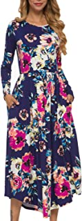Women's Casual Floral Long Sleeve Long Maxi Dress with Pockets