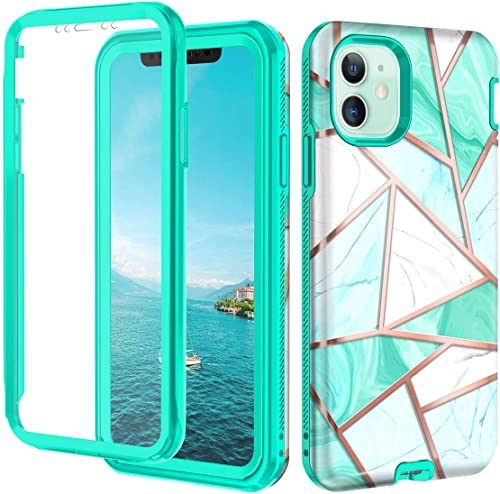 Hekodonk for iPhone 11 Case Built in Screen Protector Heavy Duty High Impact Hard PC TPU Bumper Full Body Protective ...