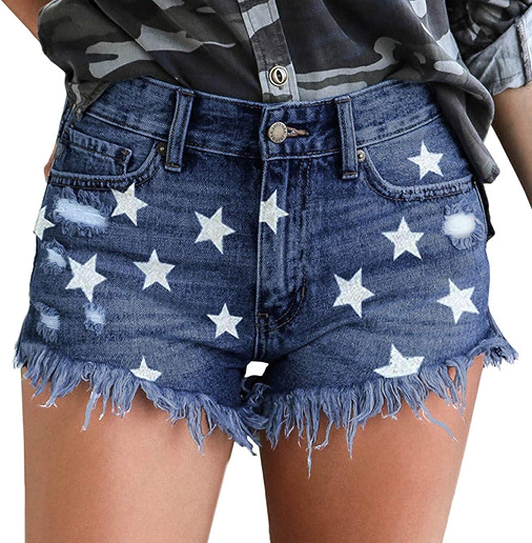 Depslee Women's Denim Shorts, Short Jeans with Stretch Frayed Frayed Hem, Summer Women's Denim Shorts hot Pants with Pockets (07-Blue,XX-Large)