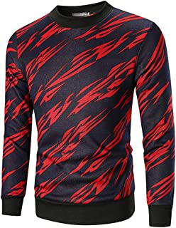 YUPENG Men Round Neck Sweatshirt Tops Men Pullovers Casual Fashion Men Print Sweatshirt Spring Autumn Winter All-Match Tops