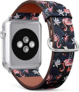 Compatible with Apple Watch 42mm & 44mm Leather Watch Wrist Band Strap Bracelet with Stainless Steel Clasp and Adapters (Birds Pink Flamingo)