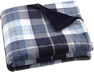 EverGrace Fleece Plaid Flannel Throw Blanket Super Soft Shaggy Blanket Fuzzy Faux Fur Lightweight Throw Blanket 50x 60 Blue