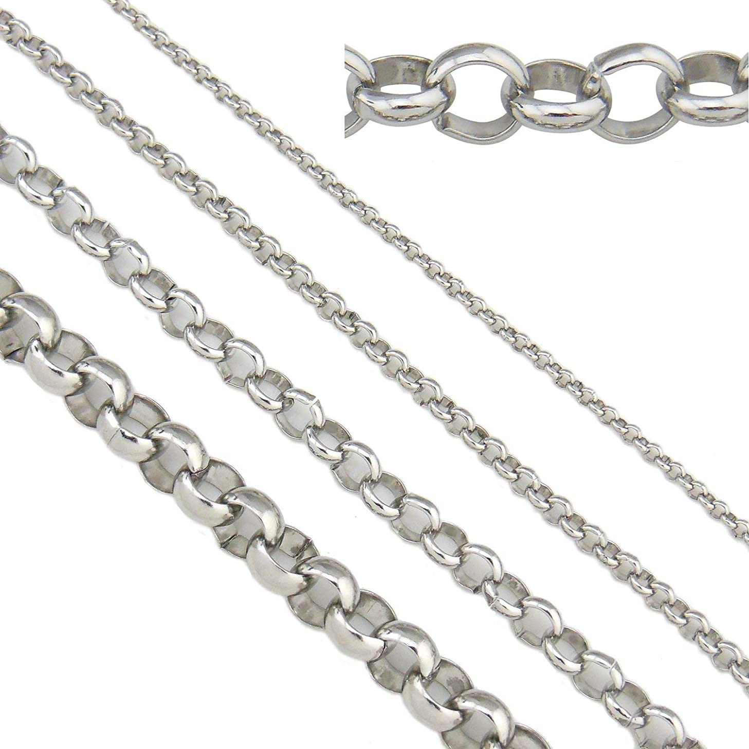 16.5ft 5mm Width Stainless Steel Rolo Cable Chains Findings Fit for Jewelry Making &DIY (SC-1020-C)