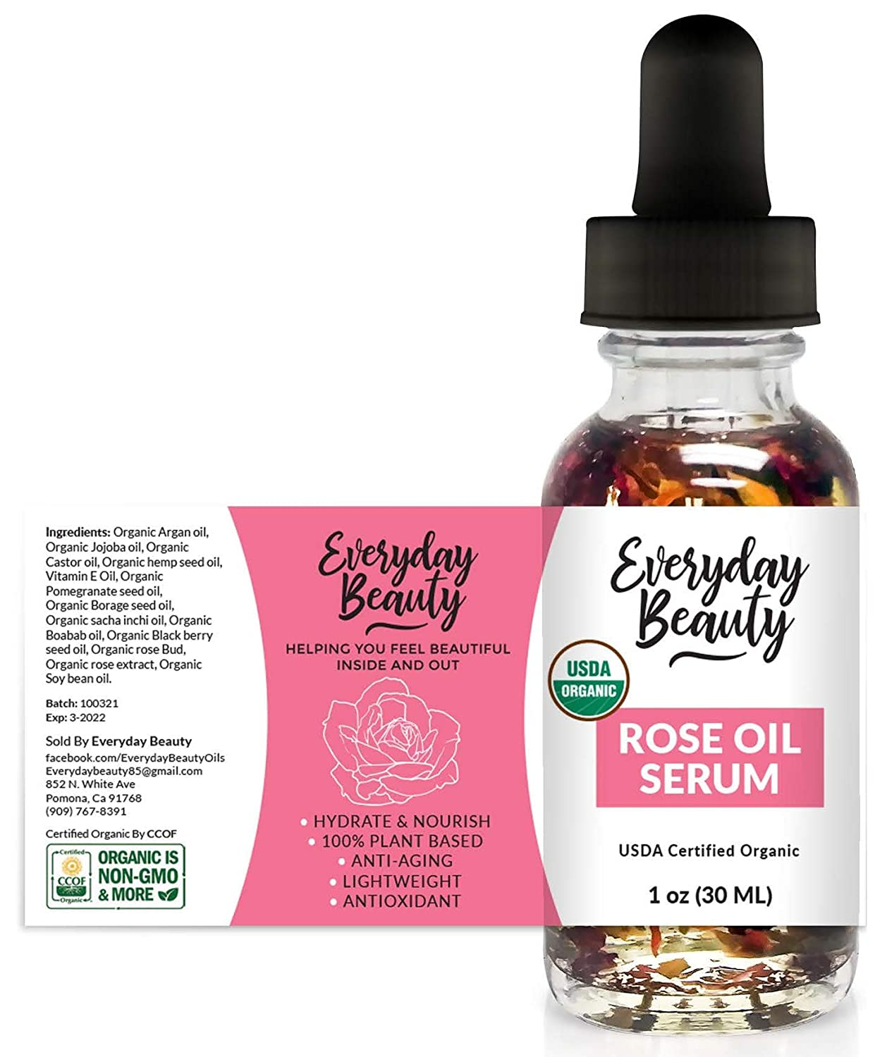 Rose Oil Serum - USDA Certified Organic Hydrating Facial Serum - One of a Kind Heavenly Rose Scented All Natural 100% Plant Based Botanical Beauty Face Oil - 1oz