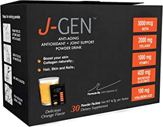 J-GEN Orange Powder Drink Mix - Ultimate Anti-Aging, Antioxidant Formula with Collagen, Resveratrol, Hyaluronic Acid, Magnesium, Vitamin C 1000mg - Supports Hair, Skin, Nails and Joints - 30 Sachets