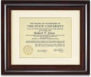 Artcare by Nielsen Bainbridge 12x15 Hampton Collection Walnut Glazed Archival Document Frame with Warm White Mat for 8.5x11 Document Includes: UV Glazed Glass and Anti Aging Liner