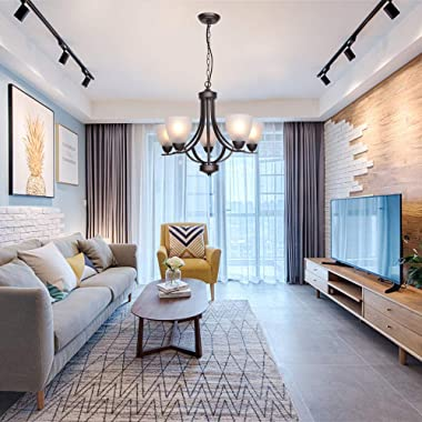 VINLUZ 5 Light Shaded Contemporary Chandeliers with Alabaster Glass Oil Rubbed Bronze Modern Light Fixtures Ceiling Hanging R
