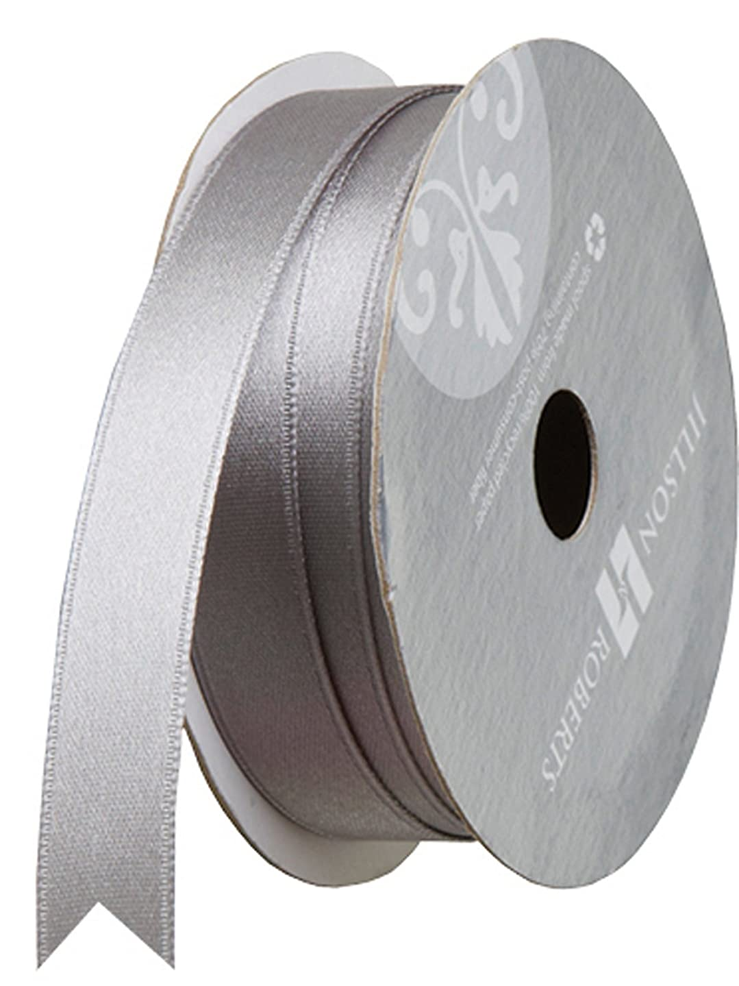 Jillson Roberts 5/8-Inch Double Faced Satin Ribbon Available in 21 Colors, Silver, 6 Spool-Count (FR0914)