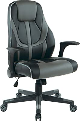 OSP Home Furnishings Output Mid-Back LED Lit Gaming Chair, Black Faux Leather With Grey Trim and Accents