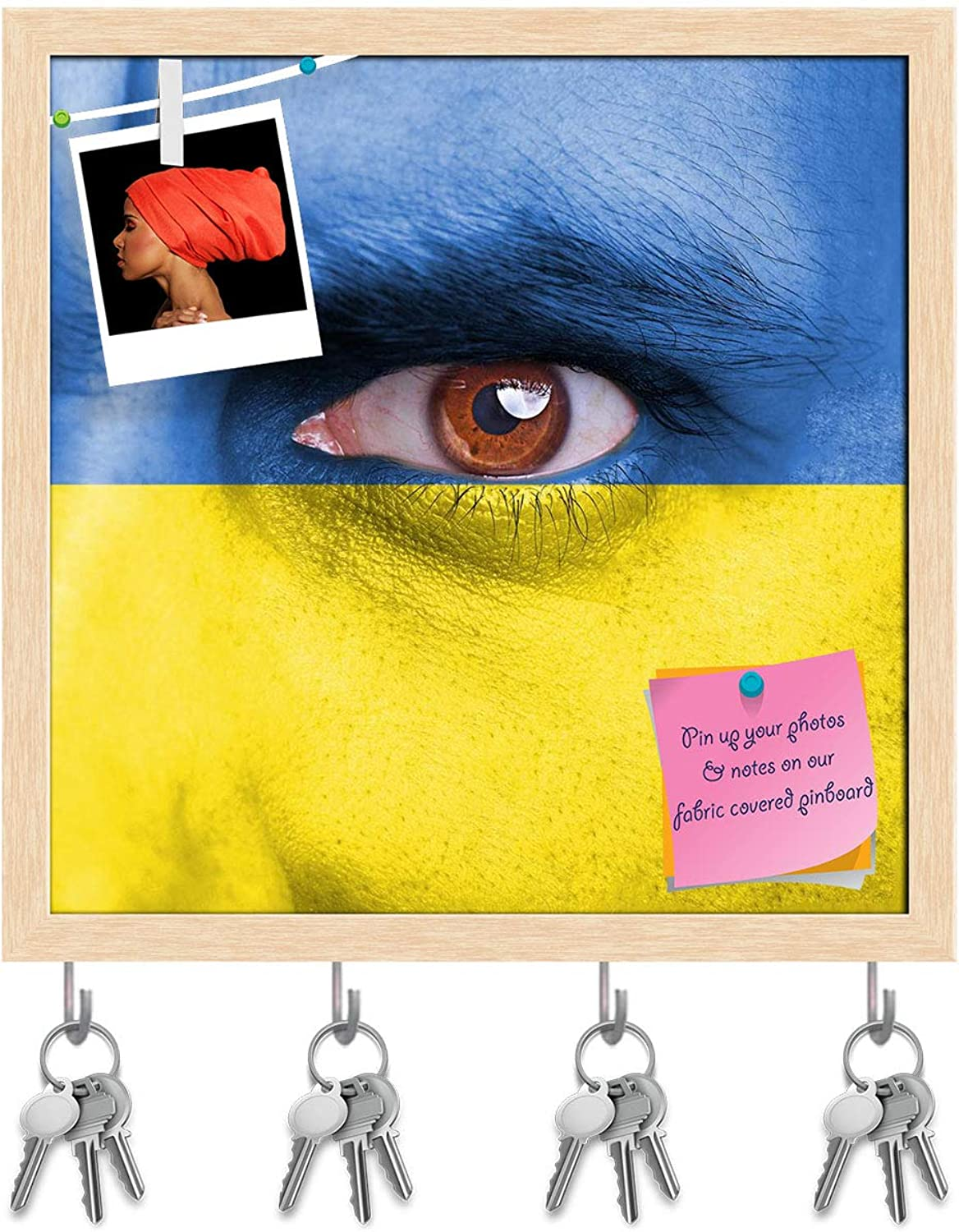 Artzfolio Ukraine Flag Painted On Face Key Holder Hooks   Notice Pin Board   Natural Brown Frame 20 X 20Inch