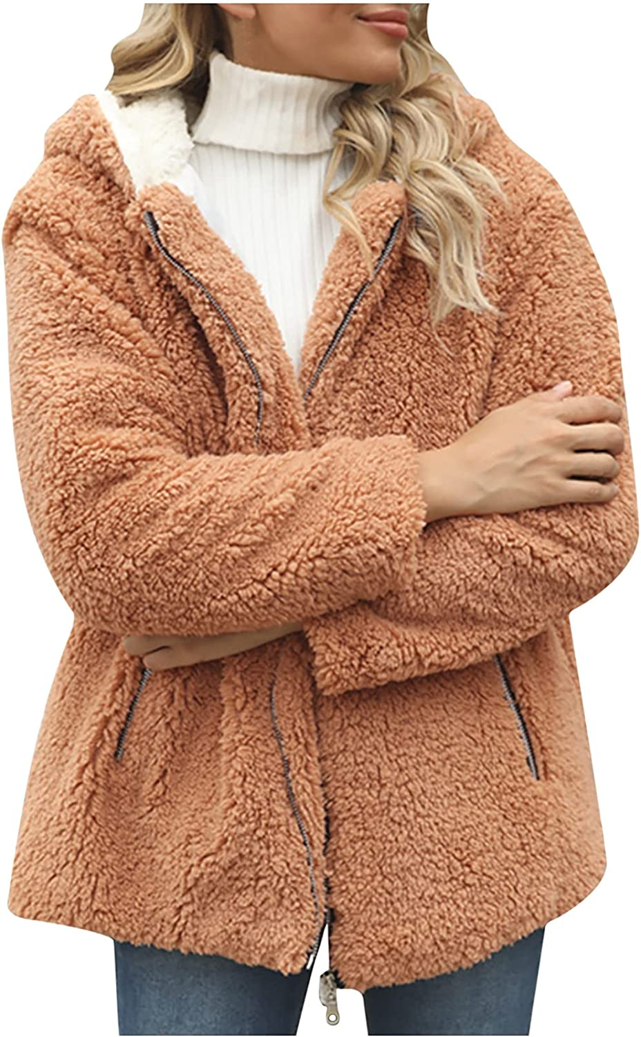 Womens Ladies Warm Faux Furry Coat Jacket Winter Warm Hooded Solid Outerwear Long Sleeve Shirt Tops Plush Soft Coats