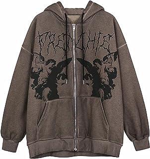 Skeleton Printed Oversized Hooded Sweatshirt for Women Girls, Zipper Gothic Jacket Y2K E-Girl Streetwear Boyfriend Hoodies...