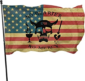 EVISUK American Blackbeard No Quarter 1718 Pirate Skul Garden Flag for Outdoor House Porch Welcome Holiday Decoration, Fit Chritmas/Birthday/Happy New, 3x5ft