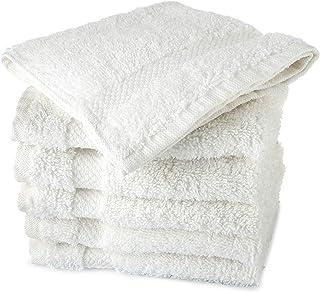 روتختی دستشویی سفید و لوکس TowelFirst 6-pack ، اینچ 13x13 ، 100 درصد پنبه ، کیفیت عالی ، پارچه صورت با دوام ، نرم و فوق العاده جاذب ، خشک کردن سریع - بهترین حالت برای حمام ، آشپزخانه ، اسپا و سالن بدنسازی