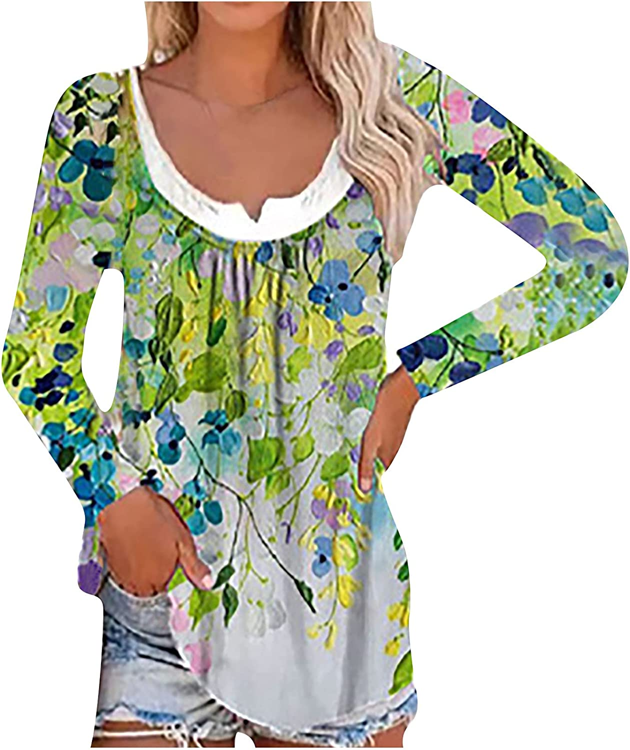 Women's Long-Sleeve Printed Pullover Tops Fake Two-Piece Bottoming Shirt Round Neck Head Blouse Tunic Top Tops
