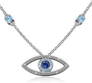 925 Sterling Silver Evil Eye Jewelry Blue White CZ Pendant Eye Bracelet Choker Necklace Gifts for Women Girl 18