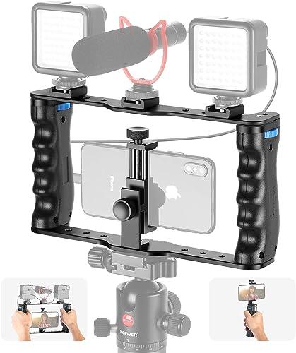 Neewer Aluminum Smartphone Video Rig, Filmmaking Case, Phone Video Stabilizer Grip Tripod Mount for Videomaker Film-M...