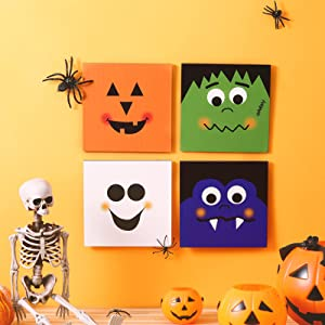 Jetec 4 Pieces Halloween Hanging Sign 5.9 x 5.9 Inch Wood Halloween Ghost Sign Happy Halloween Welcome Signs Pumpkin Face Wood Hanging Decors for Indoor Outdoor House Supplies, Trick or Treat, Square