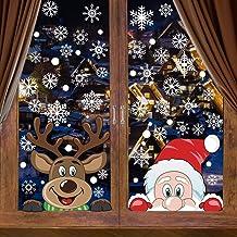 CCINEE 6 Sheets 300 Pcs Christmas Window Clings, Snowflake Reindeer Santa Claus Window Stickers for Christmas Window Desco...