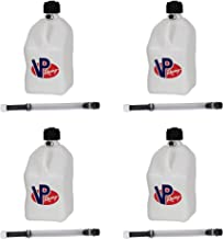 4 Pack VP 5 Gallon Square White Racing Utility Jugs with 4 Deluxe Filler Hoses