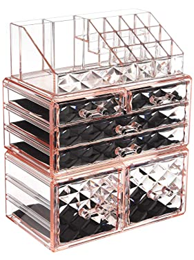 ZHIAI Makeup Organizer Acrylic Cosmetic Storage Drawers and Jewelry Display Box Transparent (Style A(Pink Diamond): 1 Top, 2 Small, 2 Large, 2 Square Drawers)