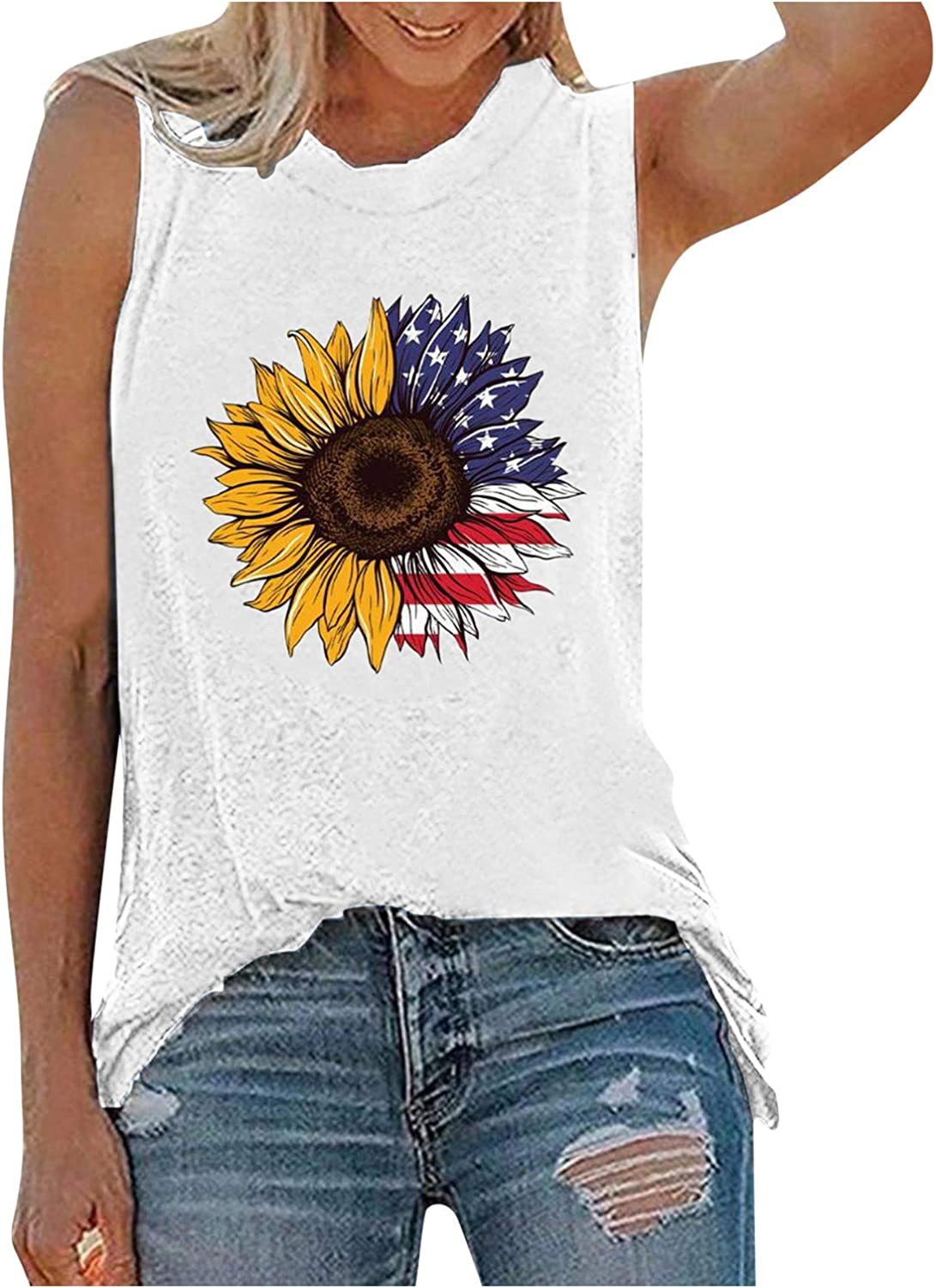 Cute Tops for Women Trendy Blouse,Women's American Flag Tank Tops 4th of July Camo Tee Summer Loose Sleeveless Country Patriotic USA T Shirts